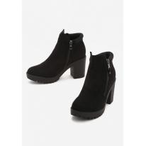 Czarne Botki damskie na obcasie 1566-1A-38-black