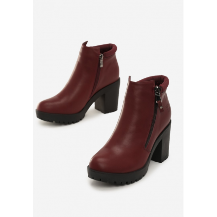 Burgundy women's high heels ankle boots 1566-453-w.red