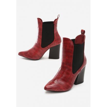 Czerwone Botki damskie na obcasie 3312-64-red
