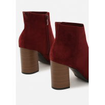 Burgundy women's high heels ankle boots 1568-453-w.red
