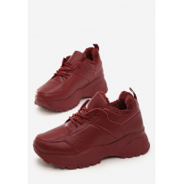 Bordowe Obuwie damskie Sneakersy JB033-453-w.red