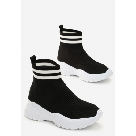 Black and White Women's Shoes Sneakers JB037-98-black/white