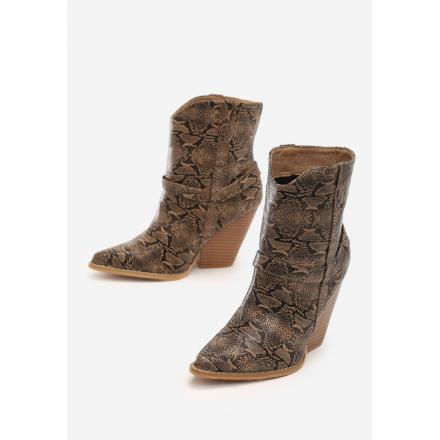 Brązowe Kowbojki damskie na obcasie 3326-54-brown