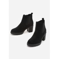 Czarne Botki damskie na obcasie 8505-38-black