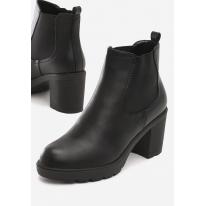 Czarne Botki damskie na obcasie 8505-1A-38-black