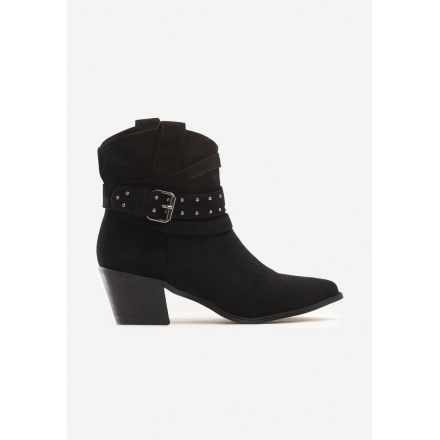 Czarne Kowbojki damskie na obcasie 8503-38-black