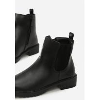 Czarne Damskie botki na płaskim JB045-1A-38-black