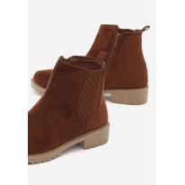 Brązowe Damskie botki na płaskim JB045-54-brown