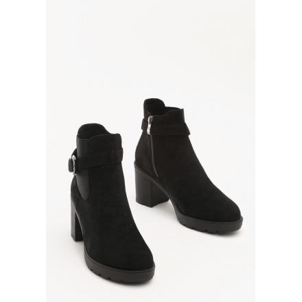 Czarne Botki damskie na obcasie 8508-38-black