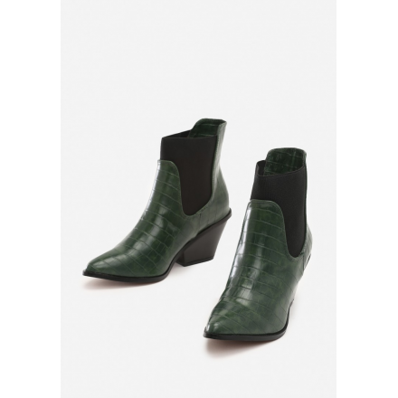 Zielone Botki damskie Kowbojki 8496-61-green