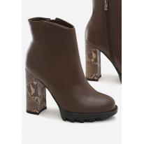 Brązowe Botki damskie na obcasie 8530-54-brown