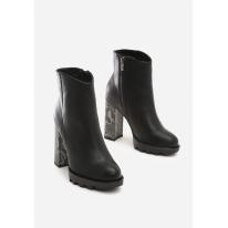 Czarne Botki damskie na obcasie 8530-38-black