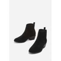Czarne Damskie botki na płaskim 3322-38-black