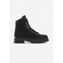Czarne Damskie botki na płaskim 7332-38-black