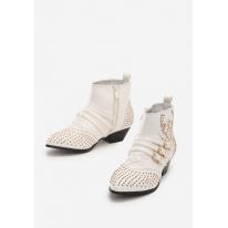 Białe Botki damskie na płaskim 7334-71-white