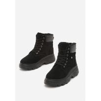 Czarne Damskie traperki 8485-38-black