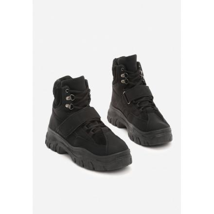 Czarne Traperki damskie 8482-38-black