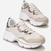 Beżowe Sneakersy 8536-42-beige