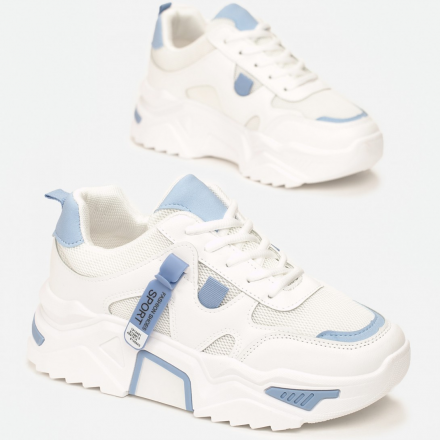 White and blue sneakers 8552-101-white/blue