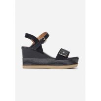Granatowe Sandały damskie na koturnie 6280-50-navy