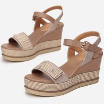 Beżowe Sandały damskie na koturnie 6280-42-beige